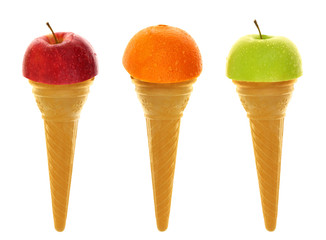 Fresh fruits on ice cream cones