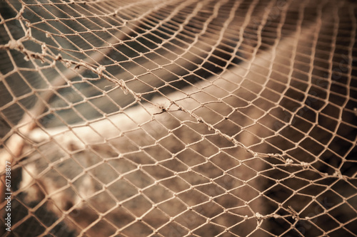 Old fishing net. Photo with shallow depth of field