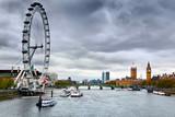 London, England the UK skyline. Big Ben, River Thames