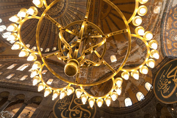 vintage lamps in the cathedral of Hagia Sophia in Istanbul, Turk