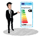 Low-energy label cartoon efficiency economy sales