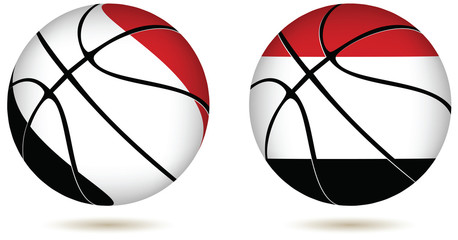 3D basket ball with Egypt flag on white