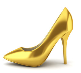 High heel golden shoe
