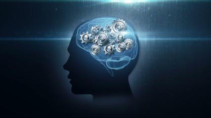head with rotating metal gears loop