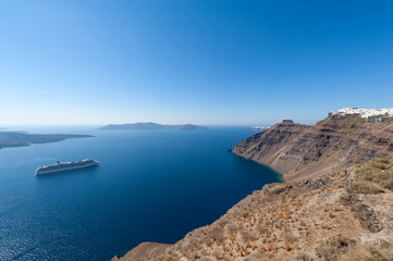 Cruise Ship in Santorini Greece