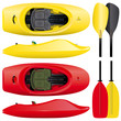set of freestyle kayaks with paddles