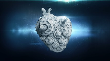 heart with rotating metal gears loop