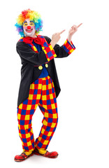 Clown pointing upward