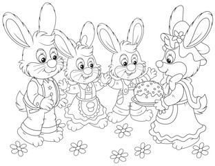 Bunnies with an Easter cake