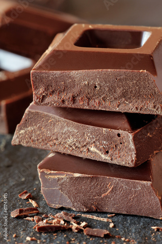 Closeup on a stack of dark chocolate
