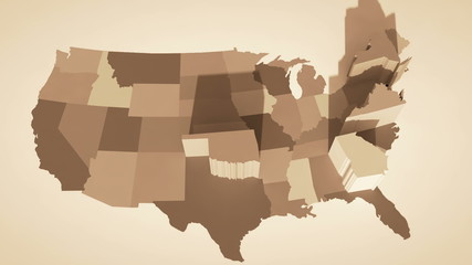 3D map of the United States in random order