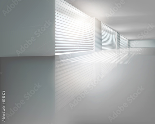 Hall with blinds. Vector illustration.