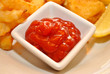 Condiment of Catsup in a White Square Bowl