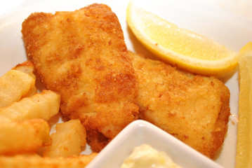 Fish and Chips with Lemon Wedges