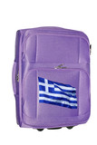 Suitcase with Greek flag  isolated on a white