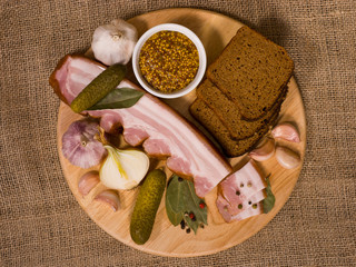 Still Life: Bacon Appetizer on Round Wooden Board
