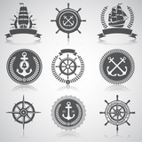 Set of nautical emblems, labels and esignaed elements, №5