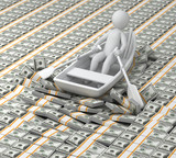 millionaire, 3d human floats in the boat on money(Dollars)
