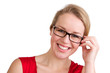 Smiling blond woman with glasses