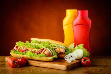 hotdogs and vegetables