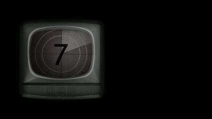Vintage film countdown on old TV set.