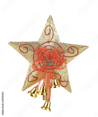 Golden star christmas decoration.