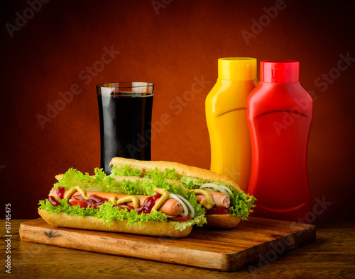 Hotdog menu with cola drink