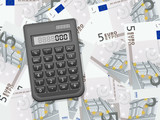 calculator on five euro background