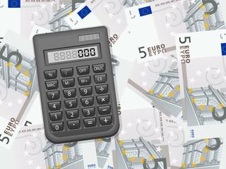 calculator on five euro background