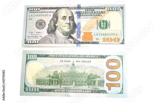 Back and Front of an American 100 Dollar Bill