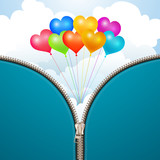 Metallic zipper with sky background and balloons
