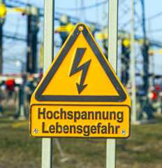 warning of electric shock in the power plant