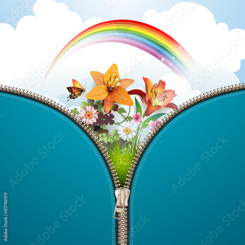 Metallic zipper with nature background and flowers