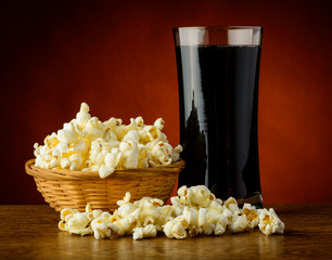 Popcorn and cola drink
