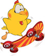 Chicken and skate board cartoon