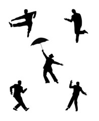dance men in silhouette