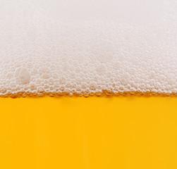 Beer in glass closeup shot