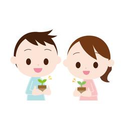 鉢植えを持つ男女 鉢植えを持つ男女 芽が出る芽が出る