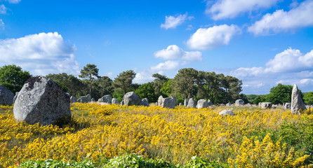 Megalithic alignments of standing stones in Brittany
