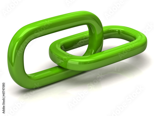 Green chain connection isolated on white background
