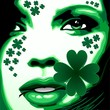 St Patrick Girl with Shamrock on Lips
