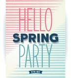 Hello spring party poster. Vector eps10