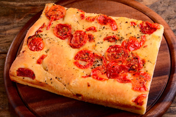 italian focaccia with little tomatoes