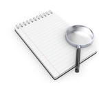 Notepad with magnify glass