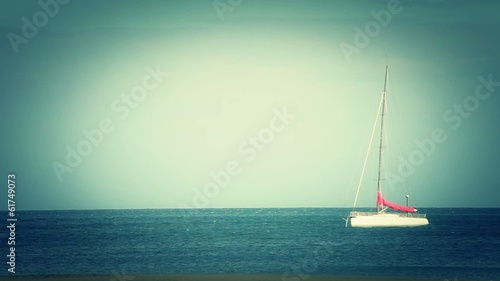 Sailing boat parked on Fuerteventura sea (Canary Islands)