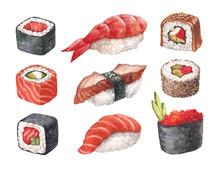 Köstliche Sushi. Watercollor Abbildungen