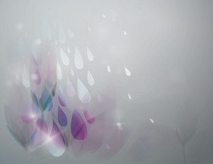 Rain in the garden / Fairy floral background with raindrops