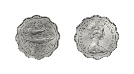 Coin of Bahamas with image of Queen Elizabeth II