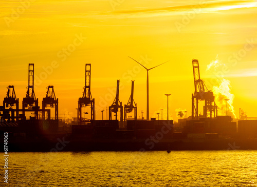 Nice sunset at the harbour of Hamburg, Germany