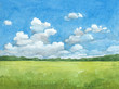 Watercolor illustration of rural landscape - 61750244